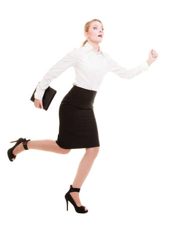 Business concept  Woman running in full body with briefcase isolated on white background photo