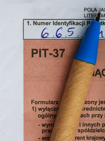 Filling in polish individual income tax form PIT-37 for year 2013 photo