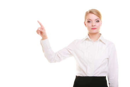 Business woman point finger empty copy space, businesswoman showing side photo