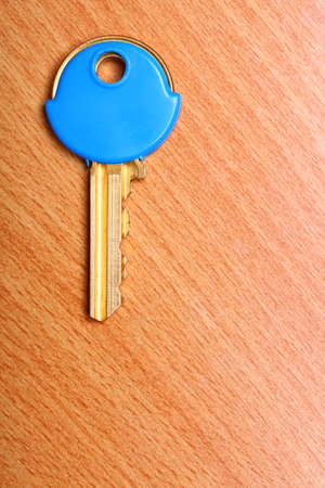 house coats: House key with blue plastic coats caps on wooden table background.