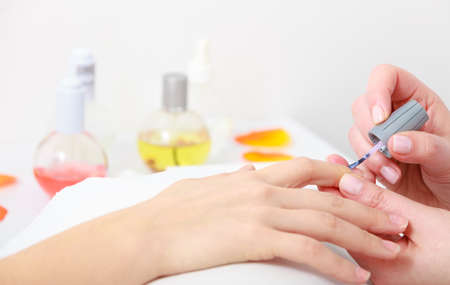 Beautician painting nails of female client  Manicure in process  Woman in beauty spa salon  photo