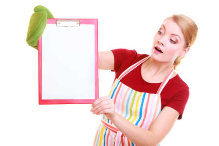 housewife wearing kitchen apron or small business owner entrepreneur barista shop assistant with empty blank banner sign for restaurant menu or recipe  Girl holding clipboard with copy space for text  Isolated on white photo