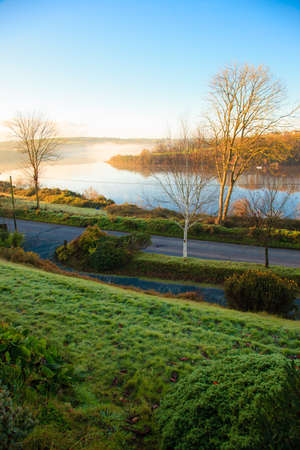 beautiful autumn landscape morning fog over the river  Co Cork, Ireland Europe photo