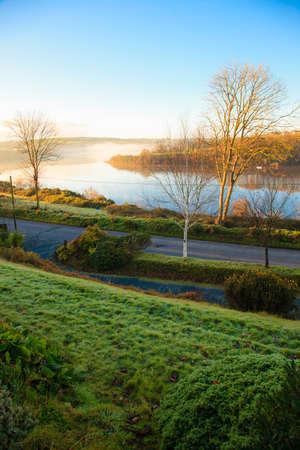 co cork: beautiful autumn landscape morning fog over the river  Co Cork, Ireland Europe Stock Photo