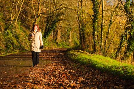 co cork: Beautiful autumn pathway  Co Cork, Ireland Europe  Woman walking relaxing outdoor  Sunny day orange fall leaves