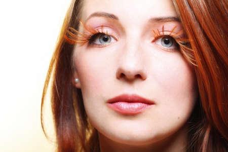 brown eye: Autumn woman fashion female stylish creative make up false long brown eye lashes autumnal colour  Close up portrait