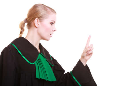 Woman female person lawyer attorney wearing classic polish black green gown, wagging her finger girl scolding isolated on white background photo