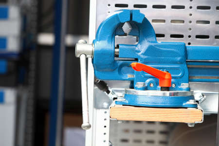 vice: Blue new mechanical vice grip tool vise clamp industrial detail