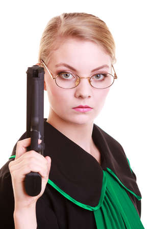 judicature: Law court or justice concept. Portrait of young woman lawyer attorney wearing classic polish (Poland) black green gown with weapon gun isolated on white. Crime.
