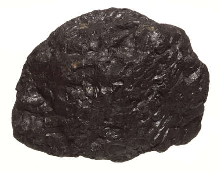 bituminous coal: Coal lump carbon nugget isolated on white. Power and energy source.