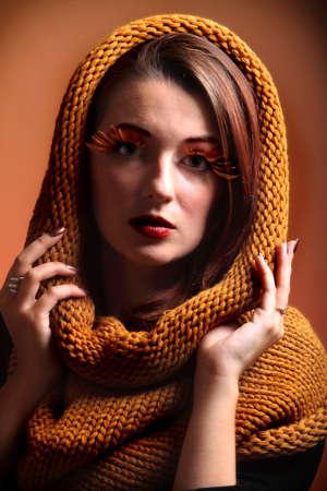 autumn colour: Autumn woman in sepia fashion female, fresh girl glamour eye-lashes autumn colour