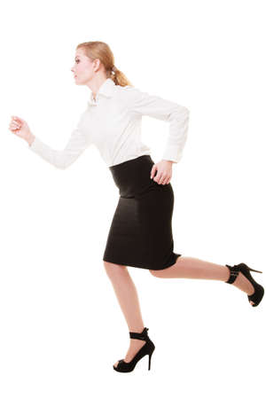 Business concept. Woman running in full body isolated on white background photo