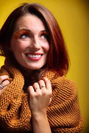 fresh girl: Autumn woman in sepia fashion female, fresh girl glamour eye-lashes autumn colour