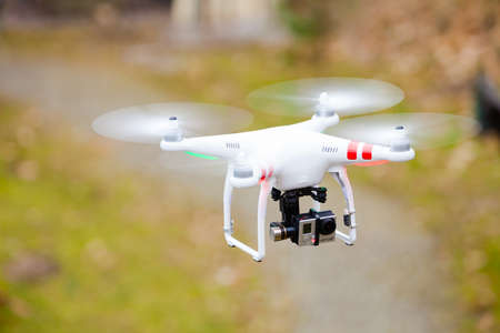 GDANSK, POLAND � MARCH 01, 2014  professional drone of Quadrocopter Phantom with movie camera  Technology innovation