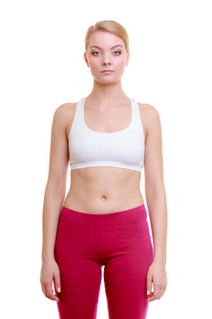 sportwear: Healthy active lifestyle  Portrait of fitness yonug woman sport girl in sportwear isolated on white  Studio shot  Stock Photo