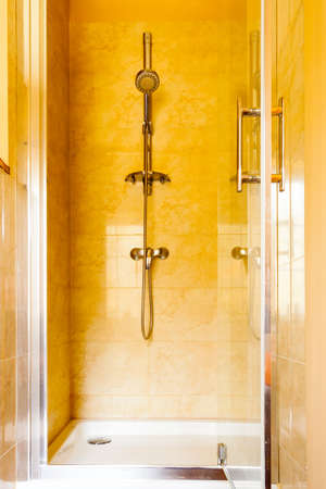 shower stall: Closeup of shower stall unit.