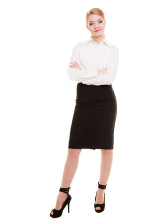 Full length of businesswoman  Elegant young woman blond girl isolated on white  Business  Studio shot  photo