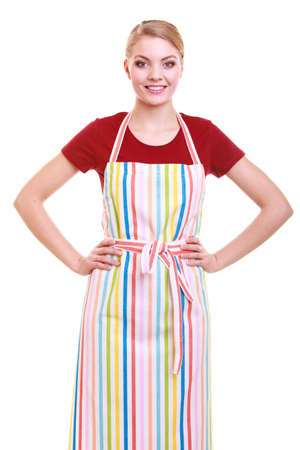 Young housewife wearing kitchen apron or small business owner entrepreneur barista shop assistant  studio picture isolated on white photo