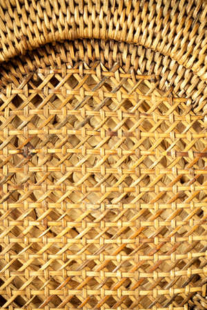 Closeup of beige basket. Wicker woven pattern for abstract or texture photo