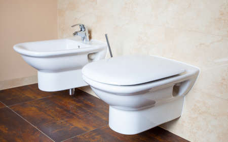 Hygiene and physiological needs. Closeup of white porcelain bidet and toilet wc. Interior of bathroom. photo
