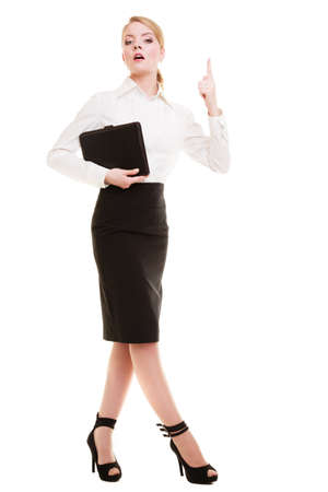 wag: Full length of mad businesswoman boss  Furious teacher woman shaking an admonitory finger isolated  Studio shot