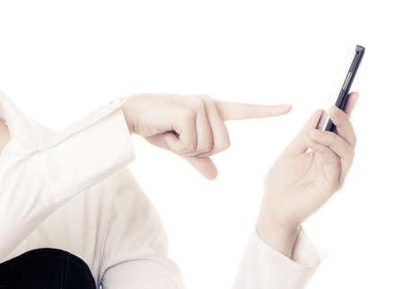 rejecting: Finger of businesswoman rejecting call.