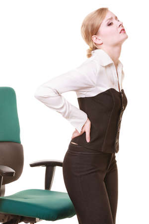 Business  Young businesswoman with backache  Woman with back pain isolated on white  Long working hours and health  photo