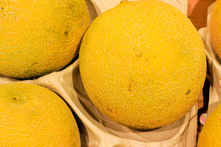 product healthy: food background  closeup on yellow tropical fruits melons  healthy product in store