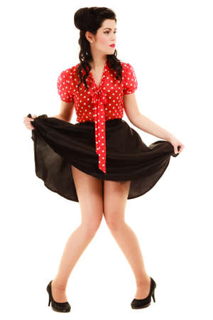 Retro style. Full length of stylish young woman isolated on white. Brunette girl in pinup style.