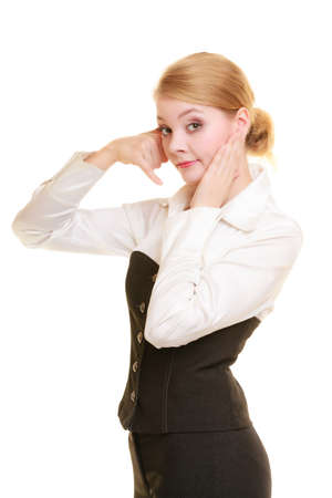 clutching: Worried businesswoman making call me gesture. Girl with phone hand sign clutching head of surprise. Business communication. Stock Photo