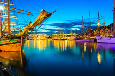 Sailing ships in the harbour during the tall ships races Bergen, Norway. Night view photo