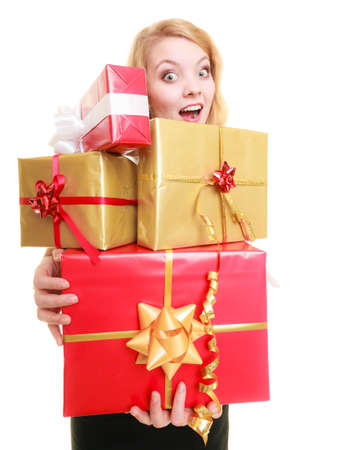 People celebrating holidays, love and happiness concept - smiling blonde girl with gift boxes isolated photo
