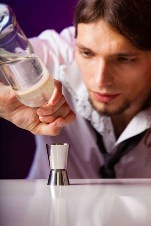 Young Stylish Man Bartender Preparing Serving Alcohol Cocktail.. Stock  Photo, Picture And Royalty Free Image. Image 31576942.