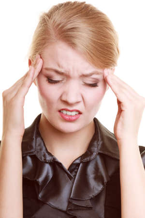 Headache, migraine and stress. Worried businesswoman upset woman suffering from head pain isolated on white. photo