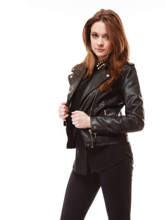 Young people teenage concept - stylish young model teenager girl in casual style clothes on white