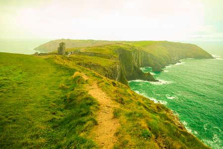 Irish landscape. Coastline atlantic ocean rocky coast scenery. County Cork, Ireland Europe. Beauty in nature.