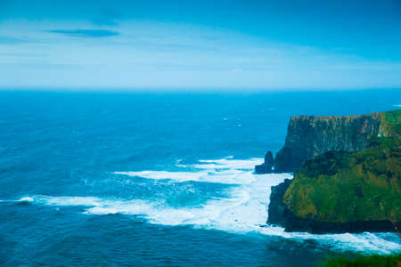 cliffs: Famous cliffs of Moher in Co. Clare Ireland Europe. Beautiful landscape natural attraction.