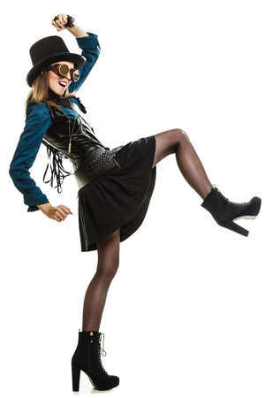 beautiful elegant steampunk retro woman or cabaret girl in glasses black hat studio shot isolated on white background photo