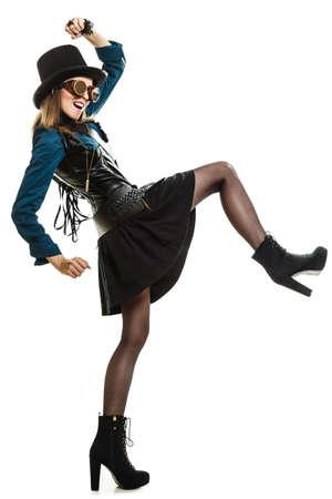beautiful elegant steampunk retro woman or cabaret girl in glasses black hat studio shot isolated on white background