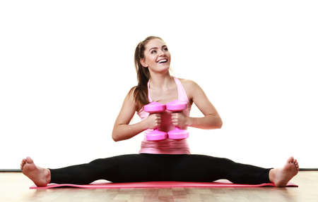 dumb bells: Fitness girl fit woman in full length with dumbbells, doing exercise with dumb bells training with weights isolated on white background