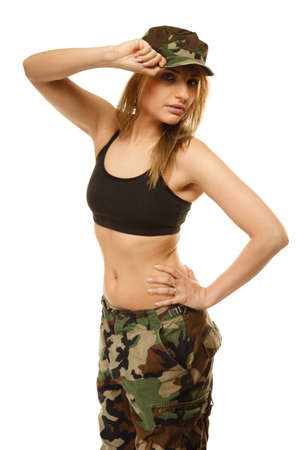 sexy army: Beautiful sexy woman in military clothes fit army girl isolated on white