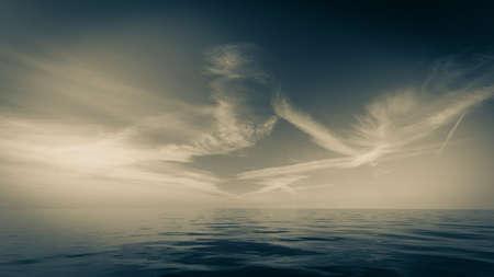 horizonte: Horizonte hermoso mar paisaje marino de noche y el cielo. Escena tranquila. Composici�n natural de la naturaleza. Paisaje. Foto de archivo