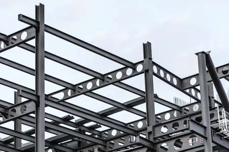 girders: Construction site. Steel structure metal girders skeleton of a new modern building