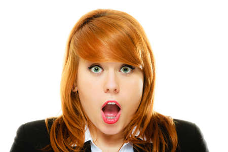 wide eyed: Emotional facial expression wide eyed business woman surprised girl open mouth isolated on white Stock Photo
