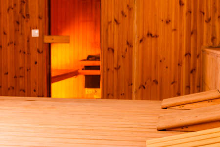 Beauty health spa and lifestyle concept. Interior of wooden finnish sauna. photo