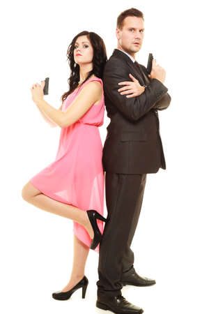 Secret investigation. Man detective agent criminal and sexy spy woman with gun. Isolated on white background.