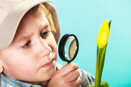 lupa: Children development. Child examining flower looking through a magnifying glass. Environmental awareness education. Stock Photo