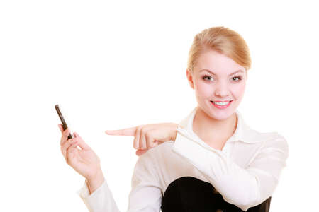 rejecting: Technology and business communication. Young happy businesswoman rejecting call. Smiling woman using smartphone cell phone isolated on white.