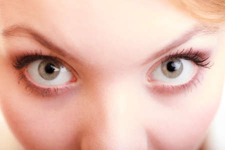wide eyed: Part of face female eyes wide open. Blonde emotional girl wide eyed Stock Photo