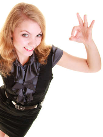 Great: Happy businesswoman or student girl showing ok hand sign gesture isolated on white. Success in work.